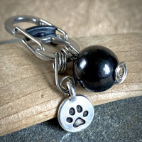 EMF Protective Pet Pendant, Shungite for Pets, Silver Paw Charm