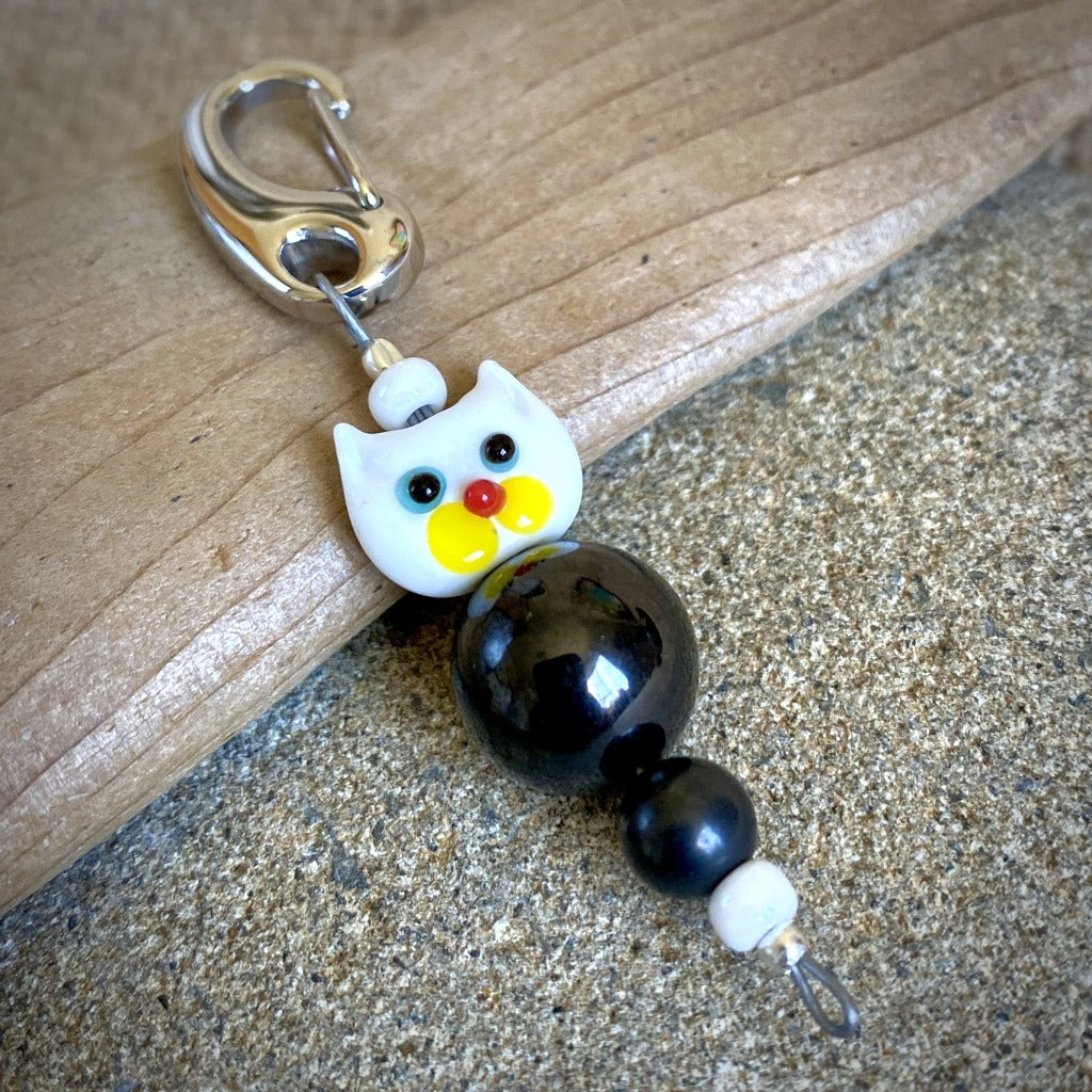 White Cat Shungite Necklace on Silver Ball Chain, Clip-On EMF Accessory, Kids