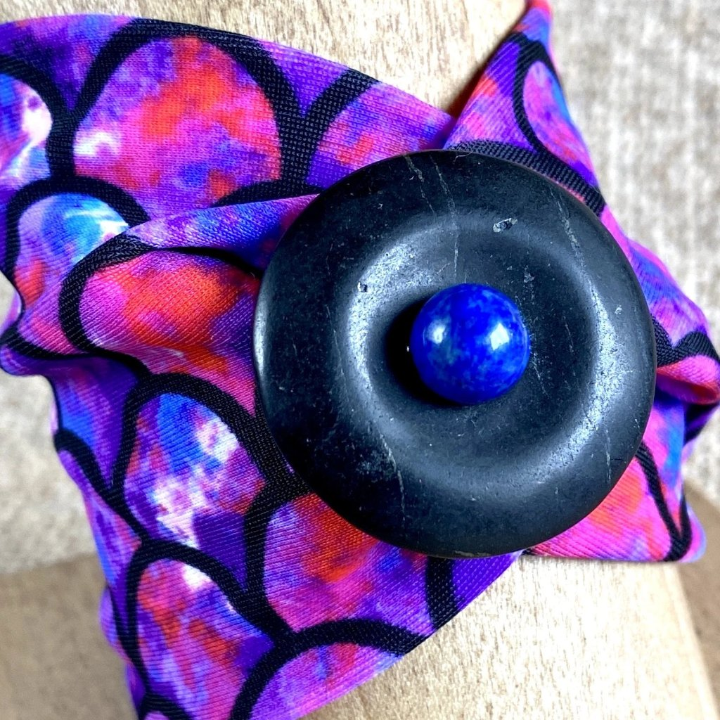Stretchy Pink & Purple Arm Band, Shungite & Lapis, Wrist Tattoo Cover - Shungite Queen