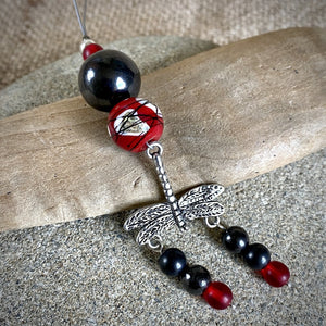 Hangable Shungite Accessory w/Dragonfly Charm & Lampwork Glass Bead - Shungite Queen