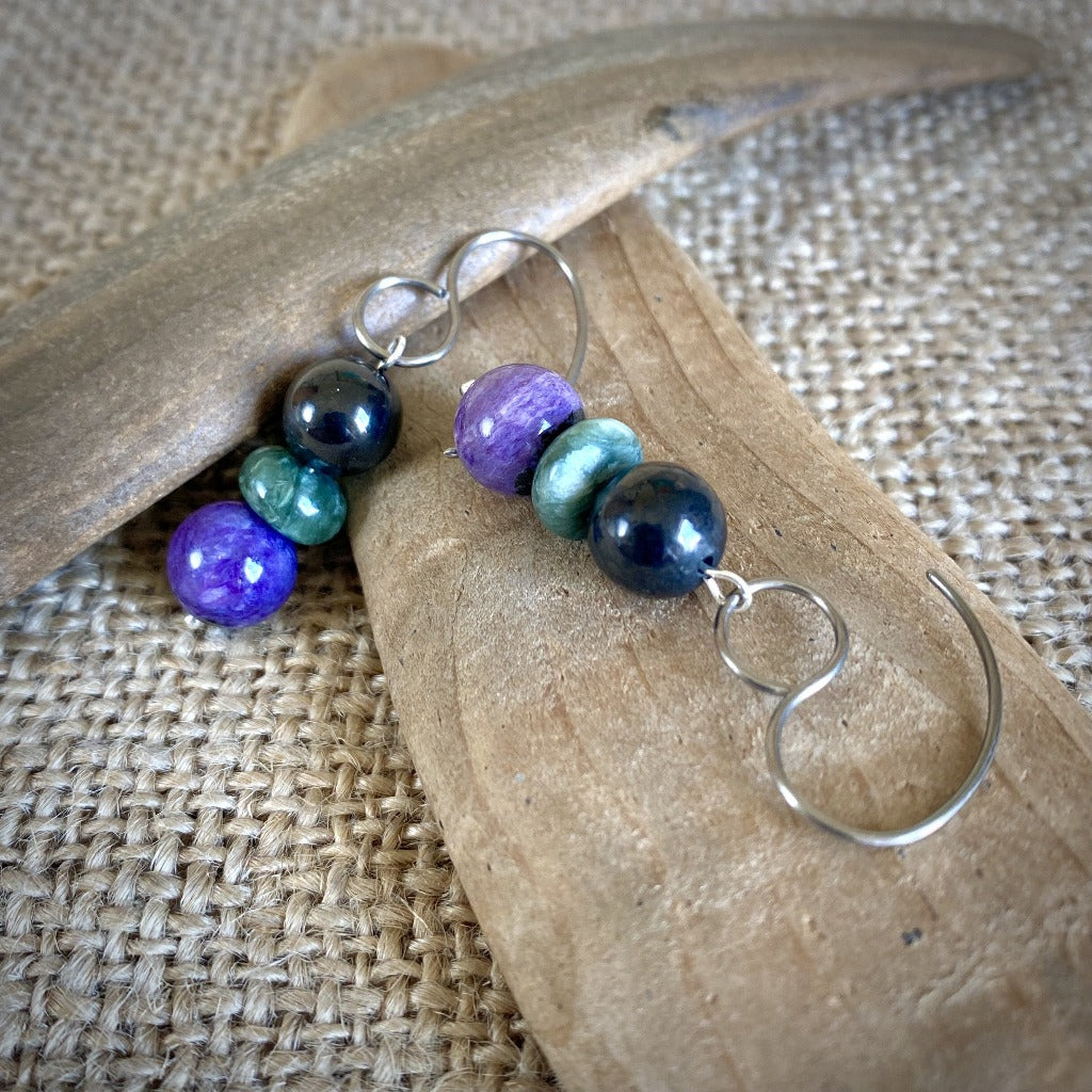 EMF Earrings, Shungite, Seraphinite, Charoite, Silver, Russian Trio