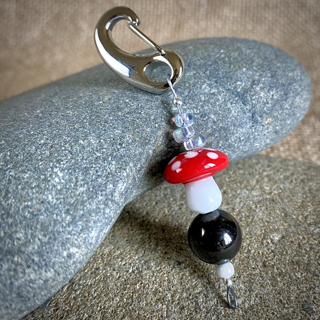 Shungite Clip-On w/Red & White Glass Mushroom, Fun EMF Protection - Shungite Queen
