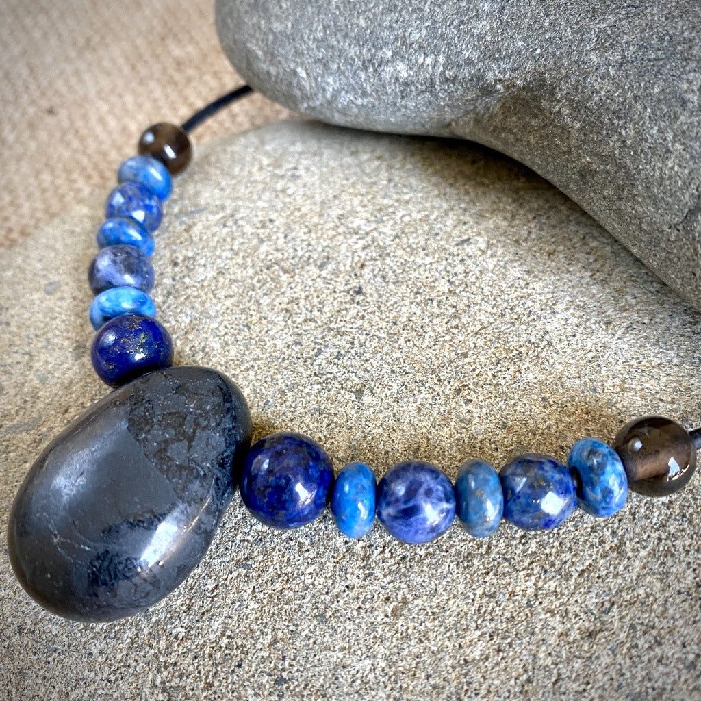 Writer's Necklace w/Shungite, Lapis, & Sodalite, Self-Expression, EMF - Shungite Queen