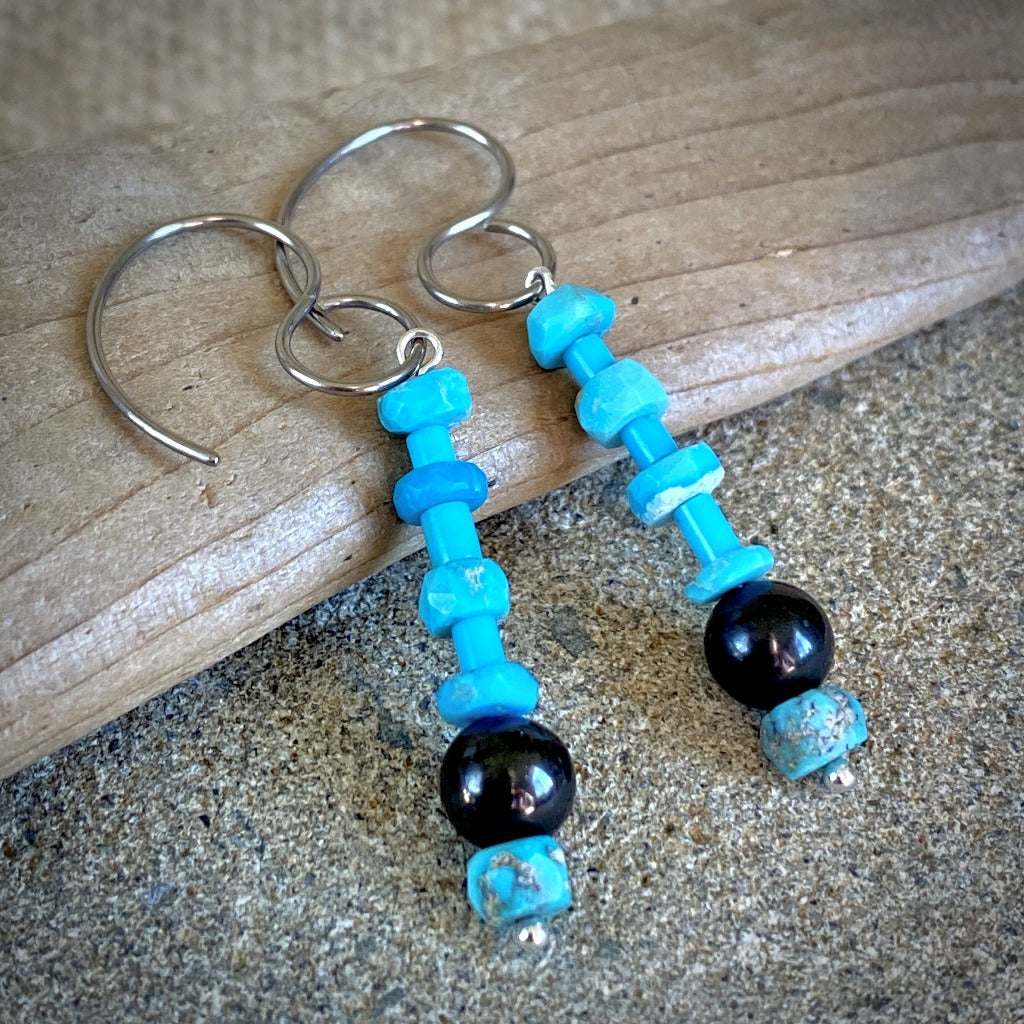 Shungite Earrings, Genuine Turquoise Beads, Pure Titanium Ear Wires