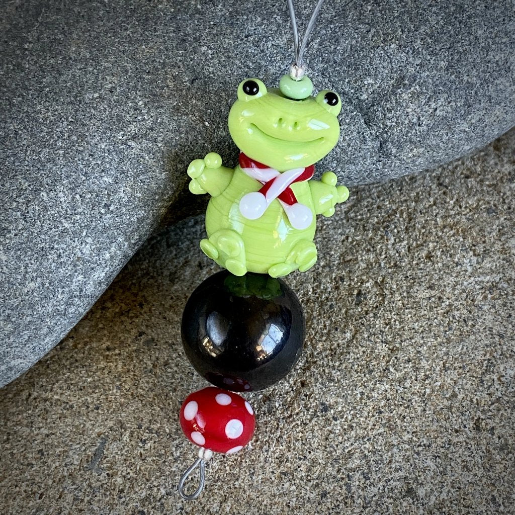Adorable Christmas Froggy Ornament w/Shungite & Polka Dot Bead
