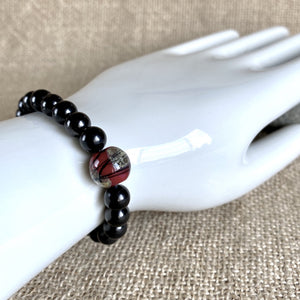 Shungite Bracelet, Red & Gold Lampwork Glass Focal Bead, Holidays