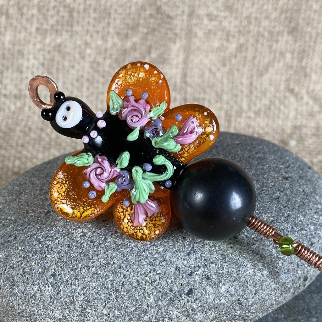 Shungite Plant Stake, Gorgeous Artisan Butterfly Bead, Lampwork Glass