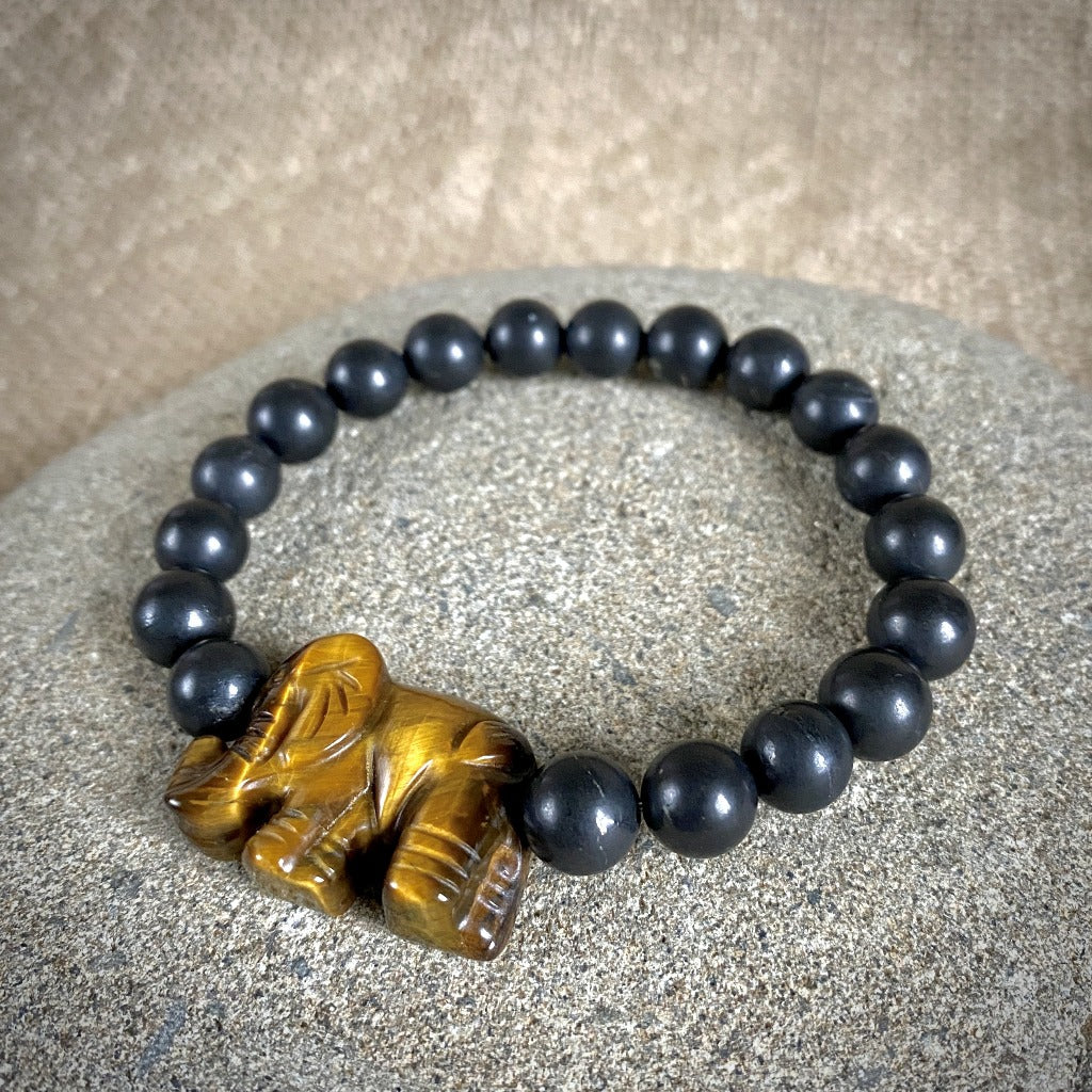 Shungite Bracelet, Yellow Tiger's Eye Elephant Bead, Stretchy