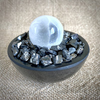 Elite Shungite Stones & Selenite Sphere in Carved Black Shungite Bowl