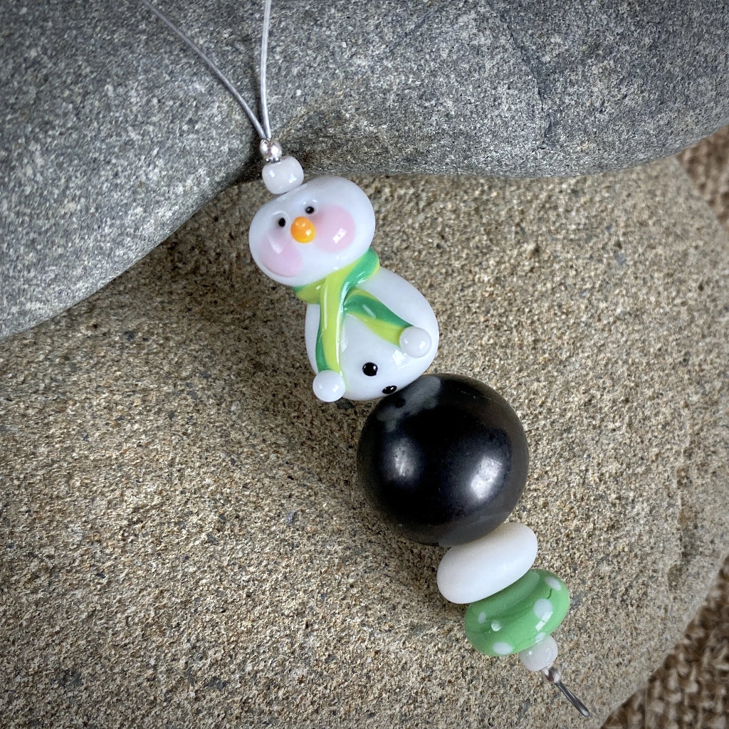 Snowman w/Green Scarf & Rosy Cheeks, Genuine Shungite Ornament - Shungite Queen