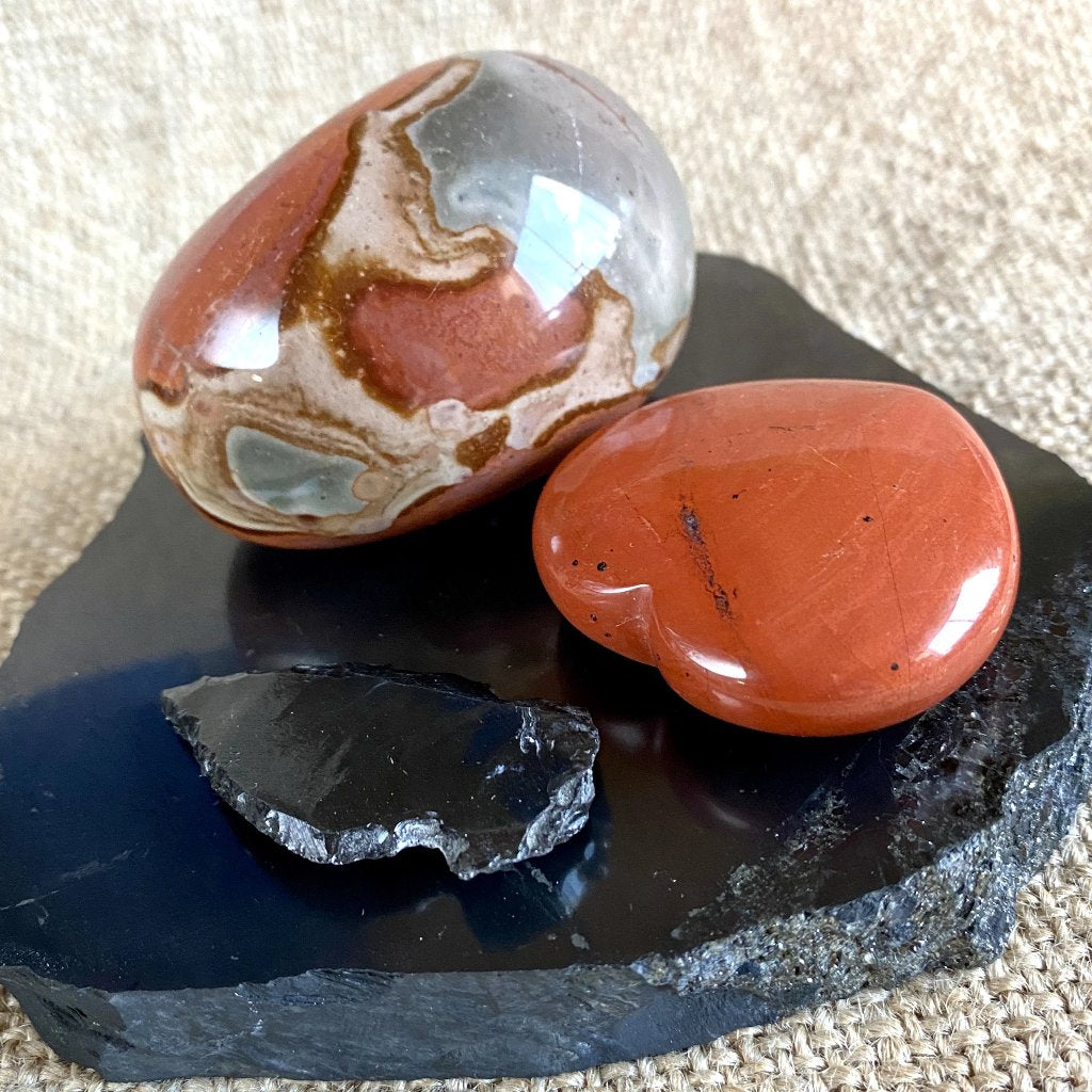 Black Shungite Tile w/Polychrome Jasper, Arrowhead, & Red Jasper Heart