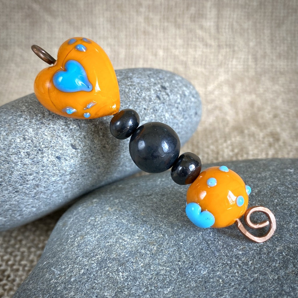 Shungite Plant Stake, Orange & Blue Lampwork Glass Hearts, Copper Wire