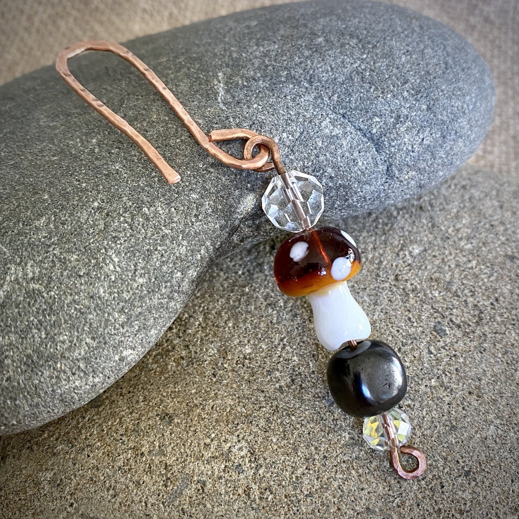 Shungite Bead Garden Dangle, Brown Glass Mushroom, Hammered Copper