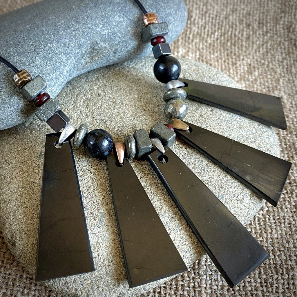 Geometric Shungite Trapezoid Necklace w/Pyrite, Hematite, & Carnelian Beads - Shungite Queen