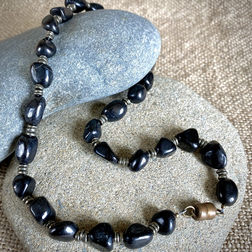Shungite & Pyrite Necklace, Industrial Style, EMF Protection for Him
