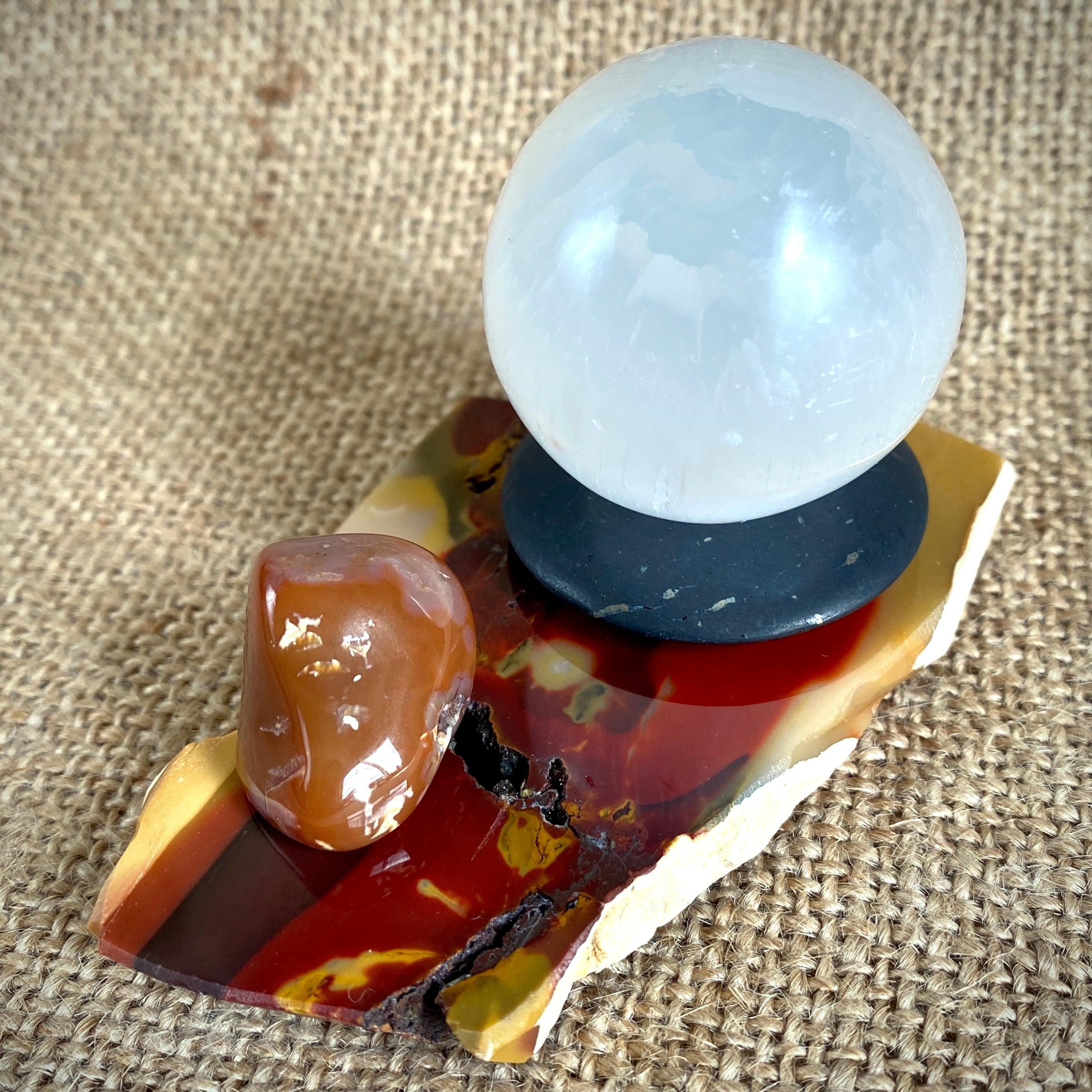Selenite Sphere & Shungite Donut on Gorgeous Mookaite Slab - Shungite Queen