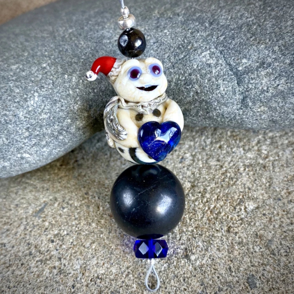 Shungite Ornament w/Old Style Lampwork Glass Victorian Christmas Ghost - Shungite Queen