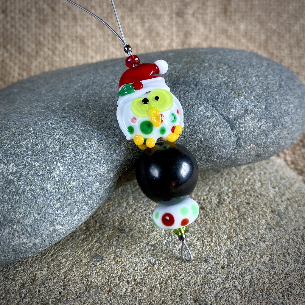 Adorable Christmas Owl & Shungite Ornament, Polka Dots & Christmas Hat