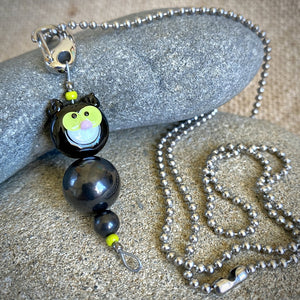 Green Eyed Black Cat Shungite Necklace, Clip-On, EMF Accessory for Kids