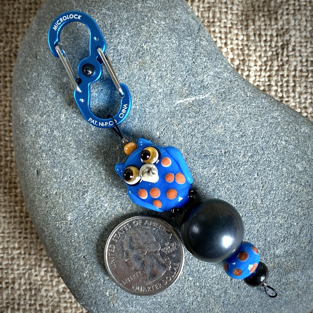 Shungite Owl Clip-on, Blue & Orange, Artisan Lampwork Glass Bead - Shungite Queen