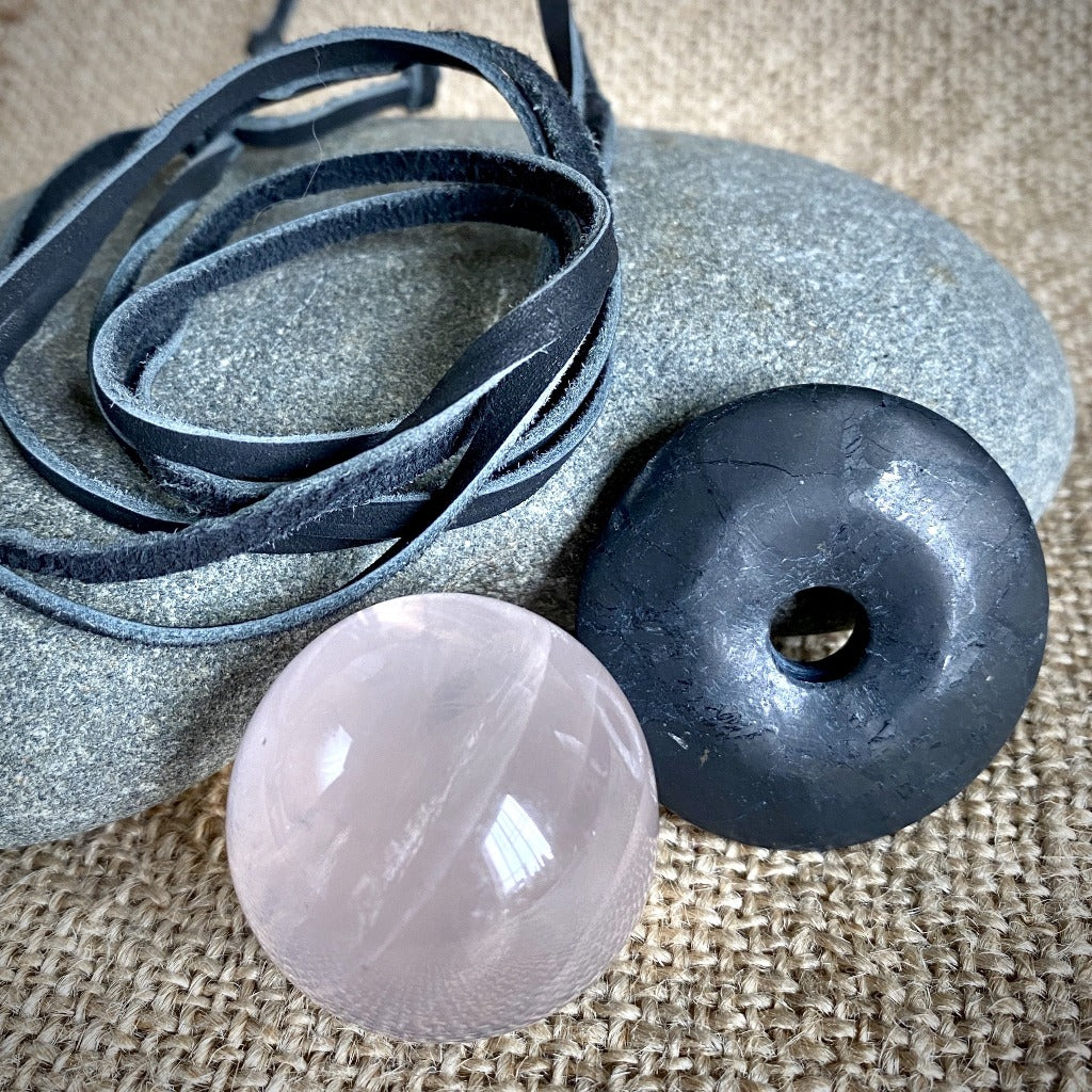 Shungite Donut Pendant w/Rose Quartz Crystal Sphere, Multifunction Set