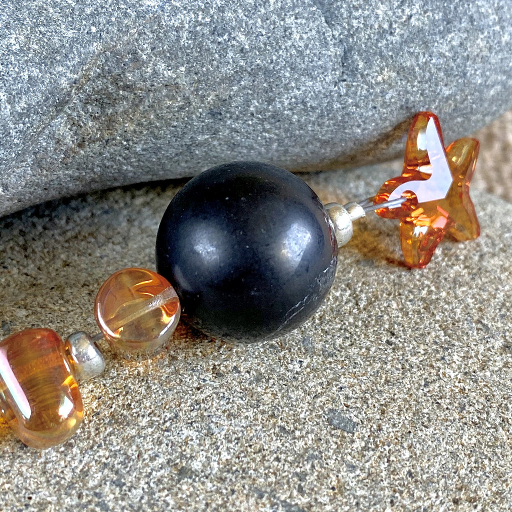 Shungite Ornament w/Sparkly Orange Swarovski Star, Gumdrop Beads