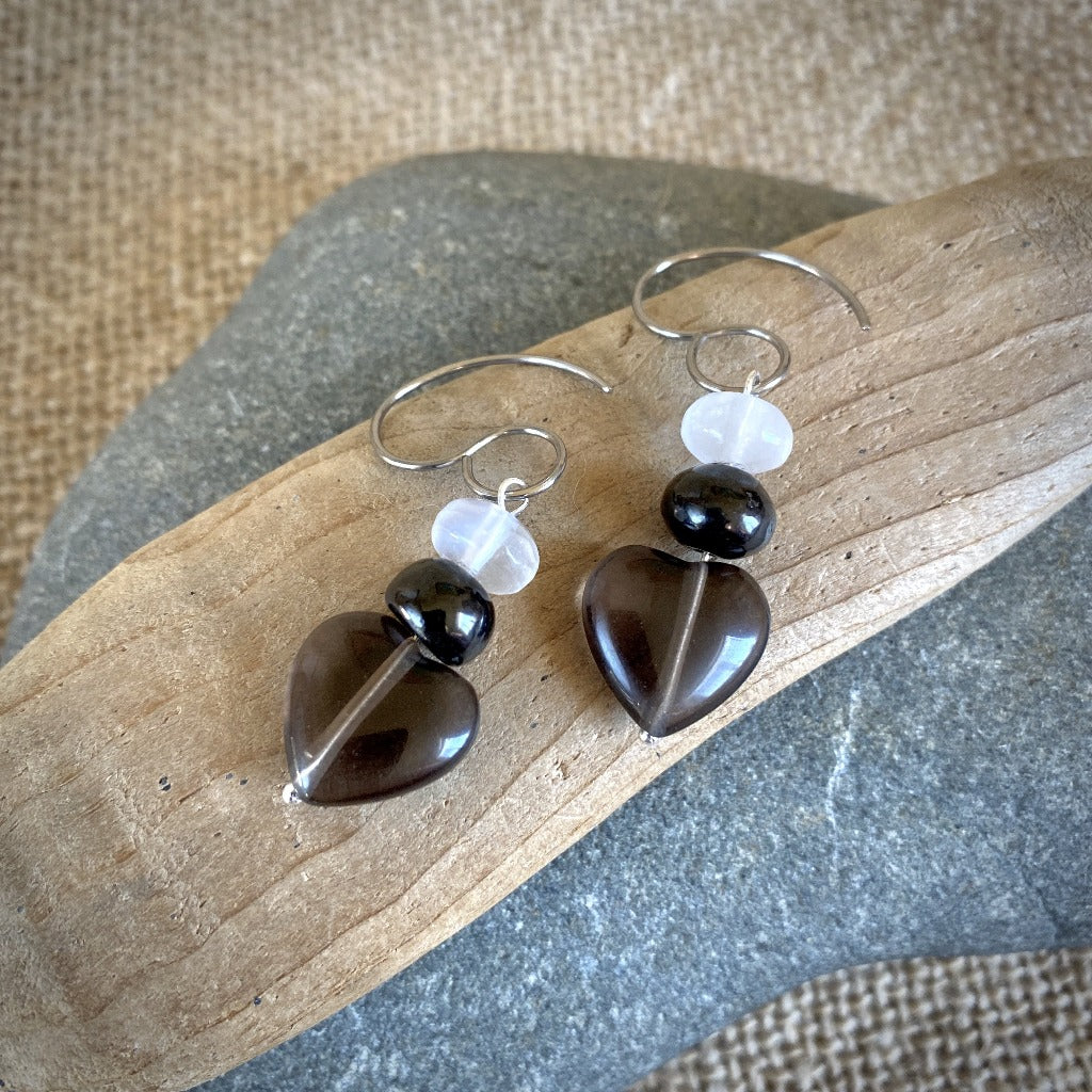 Shungite Earrings, Midnight Lace Obsidian Hearts, Selenite, Titanium