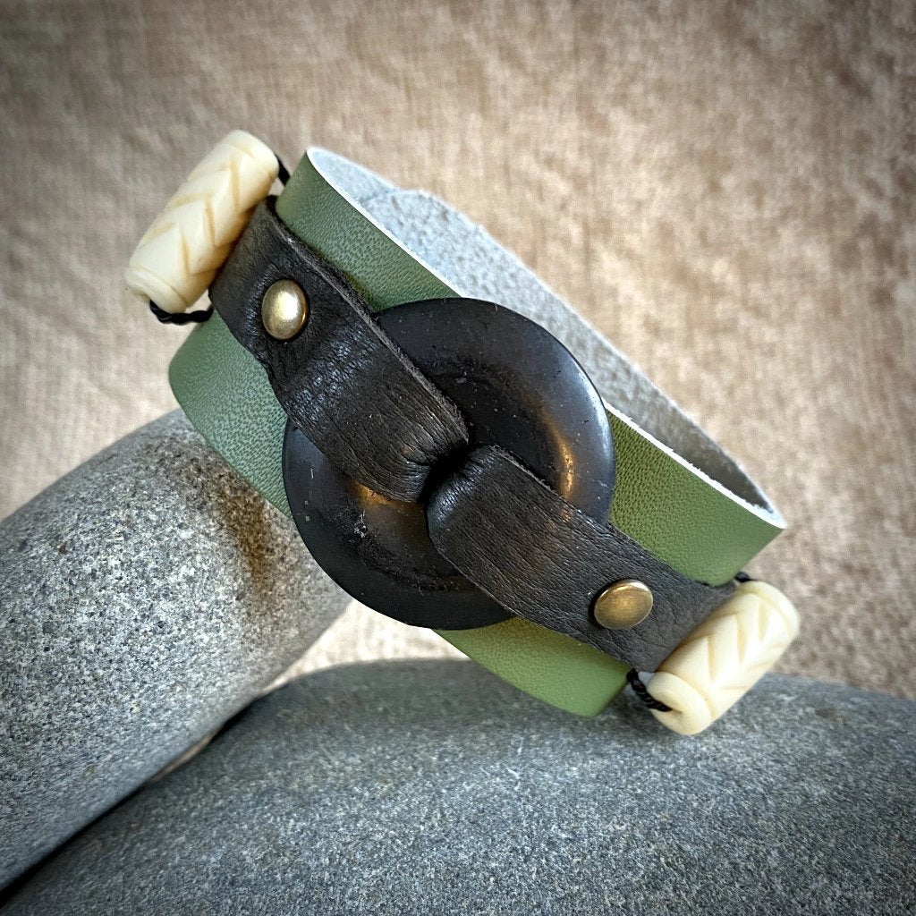 Green Leather Cuff Bracelet w/30mm Shungite Donut & Carved Bone Beads