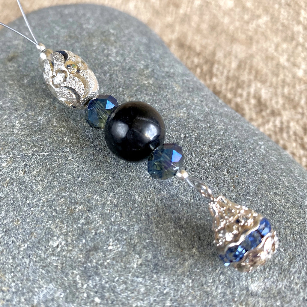 Shungite Ornament w/Balinese Sterling Silver Beads, Tiny Blue Crystals