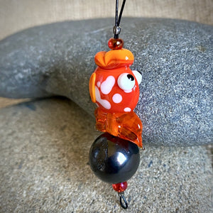 Hangable Shungite Accessory w/Brilliant Orange Lampwork Glass Goldfish