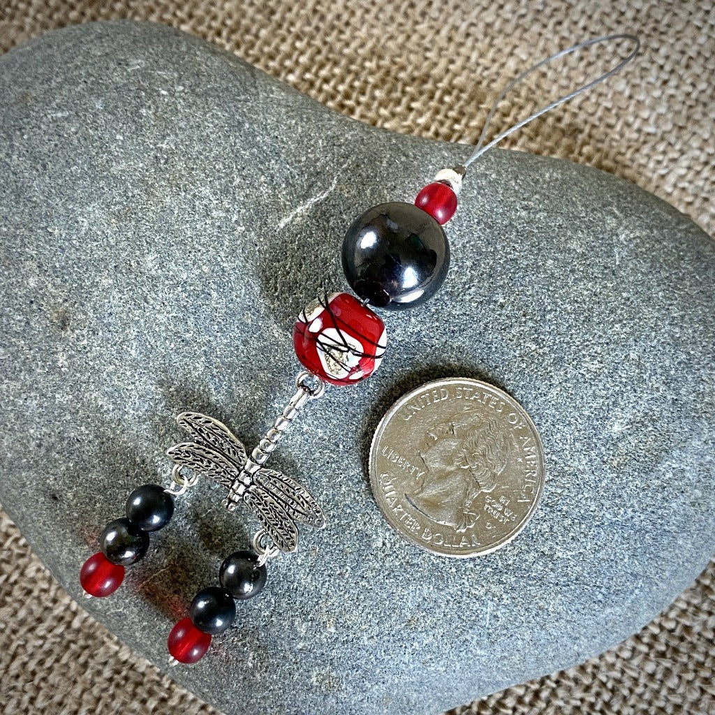 Hangable Shungite Accessory w/Dragonfly Charm & Lampwork Glass Bead