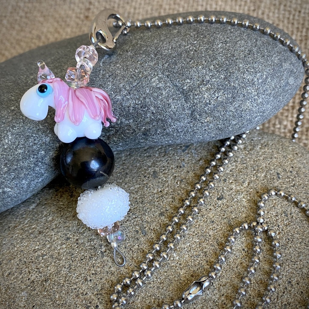 Shungite & Unicorn Necklace, Clip-On EMF Accessory for Kids, Girly Girl