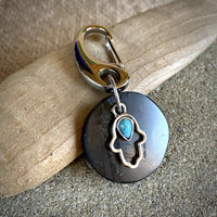 Shungite Disk Clip-On, Silver Hamsa Charm, Turquoise Cabochon