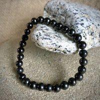 Shungite Bracelet, 6mm Shungite Beads, Elasticized, EMF Protection, Unisex