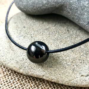 EMF Necklace, Large Shungite Bead, Unisex, Simple, Gift for Him