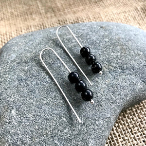 Shungite Earrings, Argentium Silver, EMF Protection, Threader Style