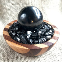 Black Shungite Sphere with Elite Shungite in Wood Bowl