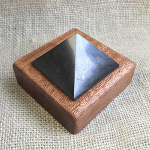 Shungite Pyramid, 2 Inch Base, EMF Protection, Custom Wood Stand - Shungite Queen