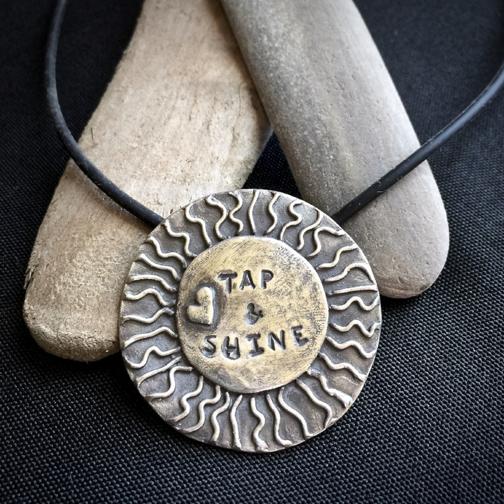 "Big Sun ""Tap & Shine"" Pendant, Tapping, EFT Necklace, Heart, Rays of Sun, Fine Silver"