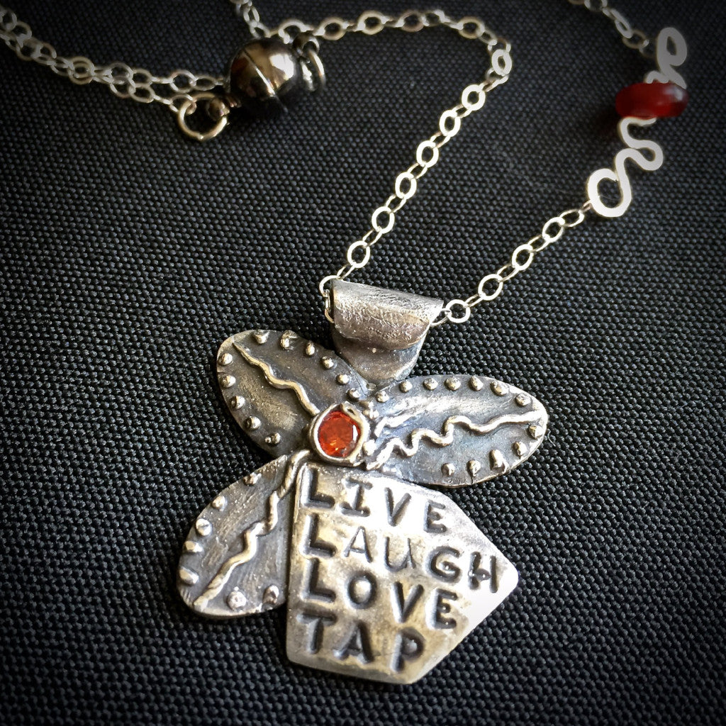"""Live Laugh Love Tap"" Tapping Necklace, Flower With Red Agate Bead, Fine Silver, Sterling Chain - Shungite Queen"