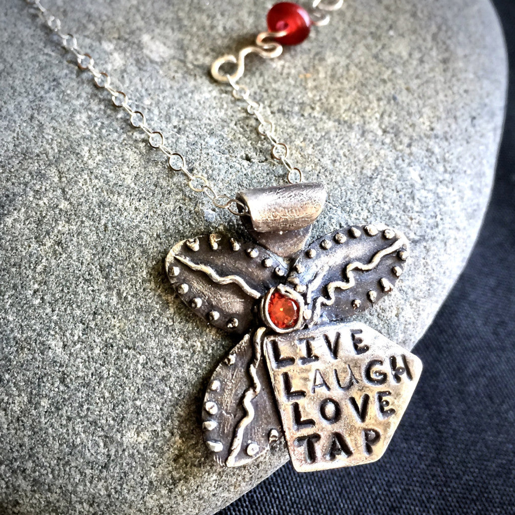 """Live Laugh Love Tap"" Tapping Necklace, Flower With Red Agate Bead, Fine Silver, Sterling Chain"