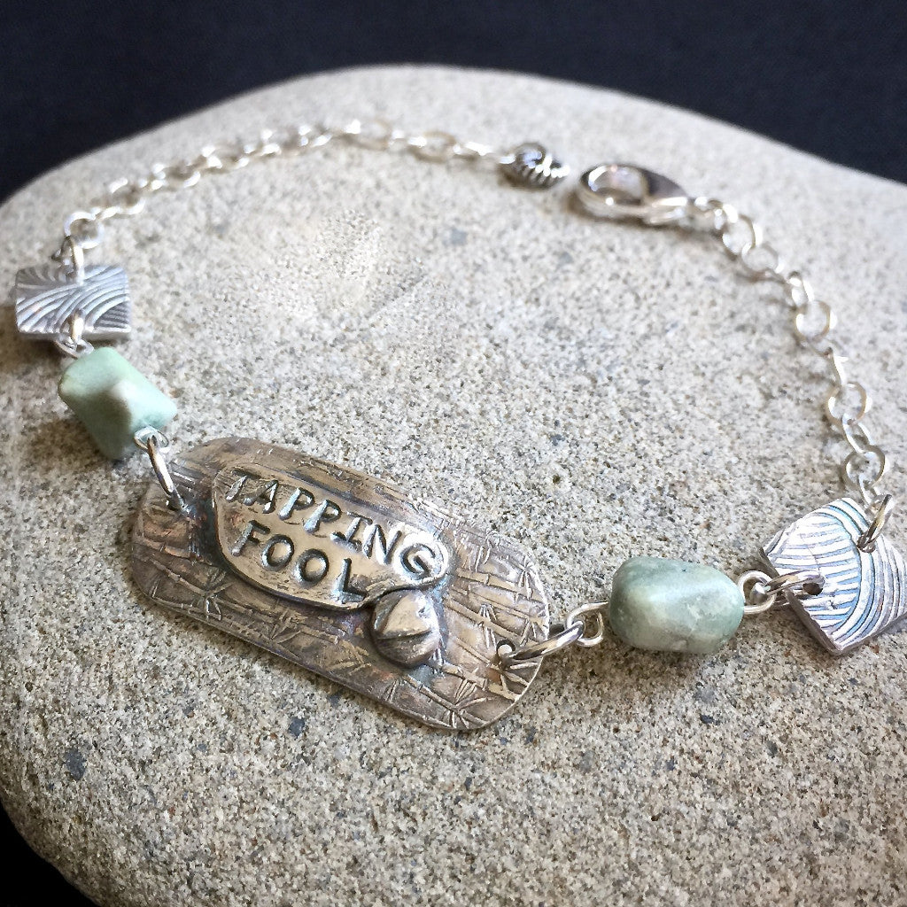 Tapping Bracelet, Fine Silver, Turquoise, Tapping Fool, Adjustable