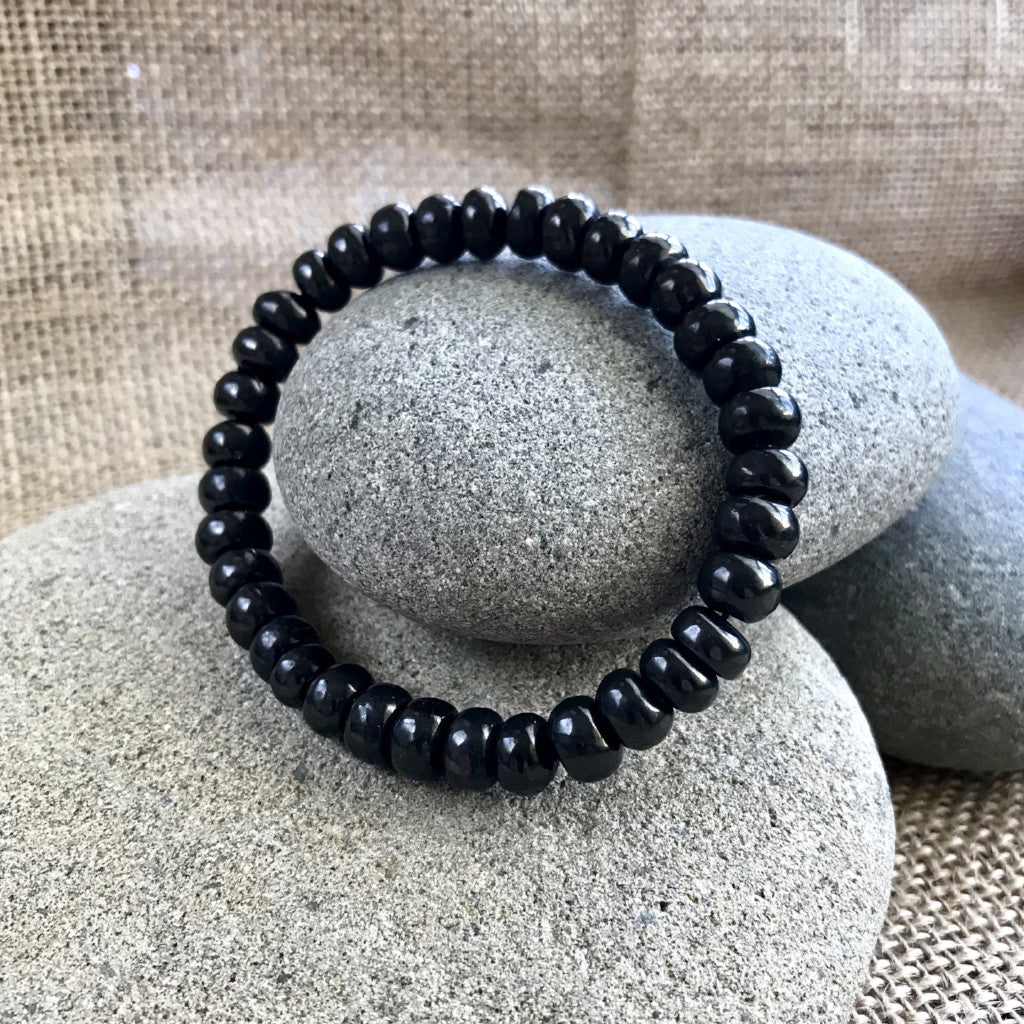 Shungite Bracelet, EMF Protection, 8mm Rondelles, Elasticized, Unisex