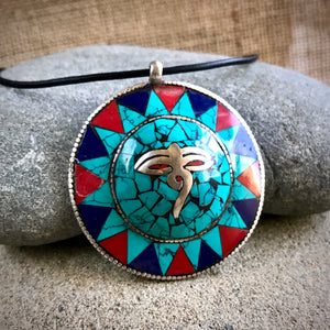 Nepali Eyes of Buddha Pendant w/Turquoise, Coral, & Lapis Inlay - Shungite Queen