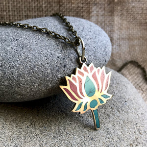 Nepali Lotus Pendant w/Turquoise & Coral Inlay, on Brass Chain