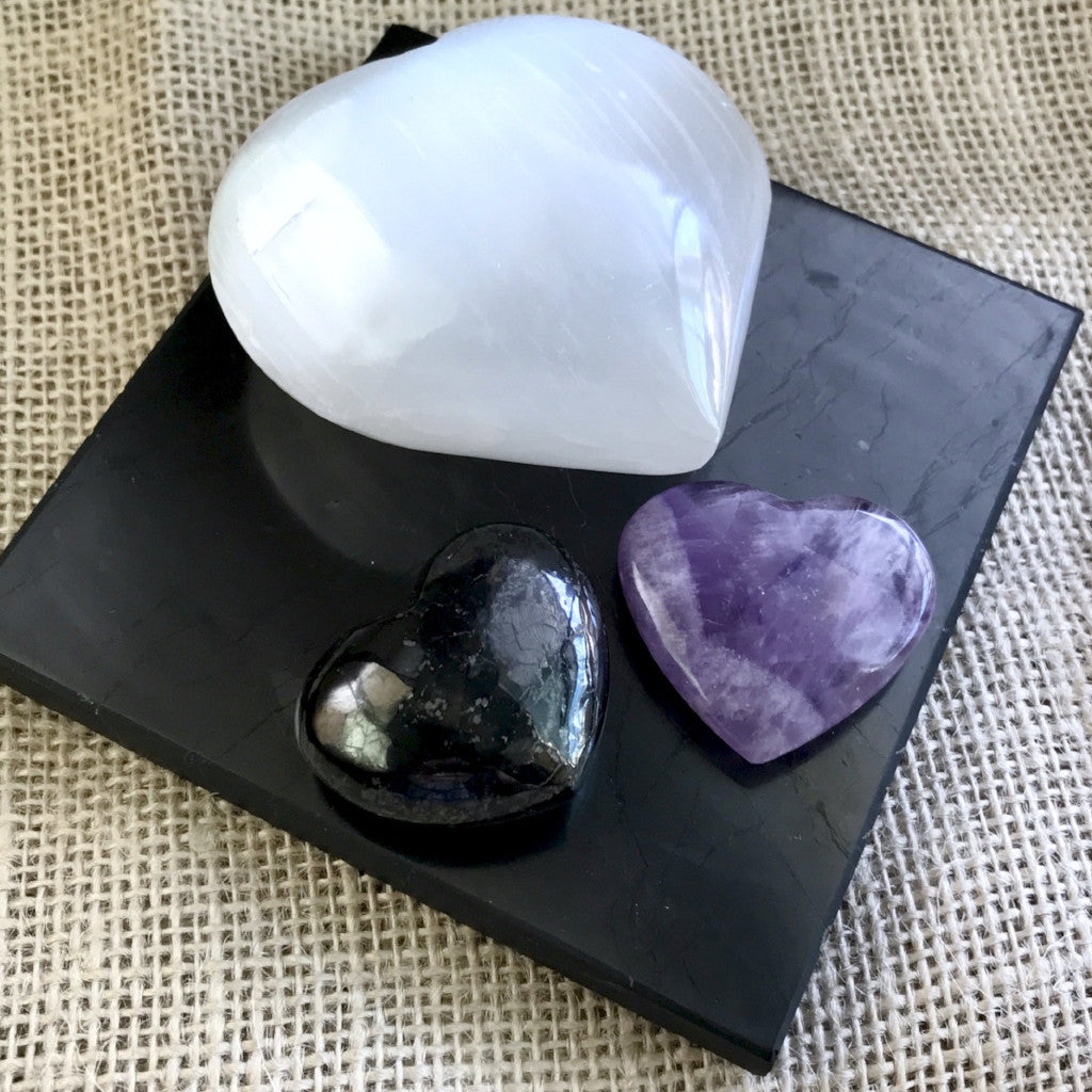 Black Shungite Tile w/Selenite Heart, Plus Shungite & Amethyst Hearts - Shungite Queen