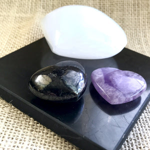 Shungite Tile W/ Selenite, Shungite, & Amethyst Hearts, EMF, Sleep