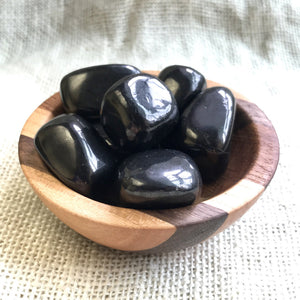 Tumbled Shungite Stones in Lovely Laminated Wood Bowl, EMF Protection