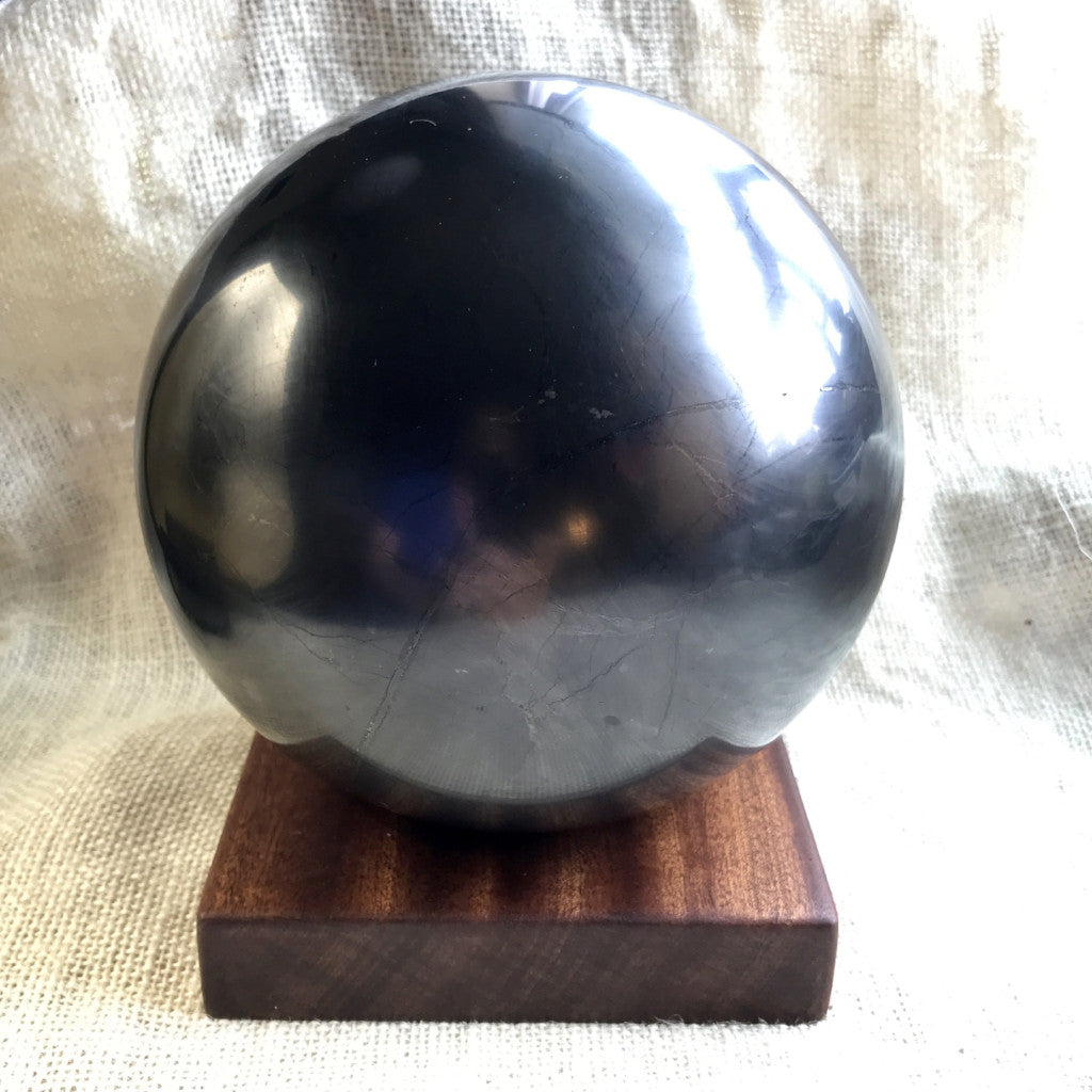 Shungite Sphere, 150mm, 6 Inches, EMF Protection, Genuine Russian Shungite