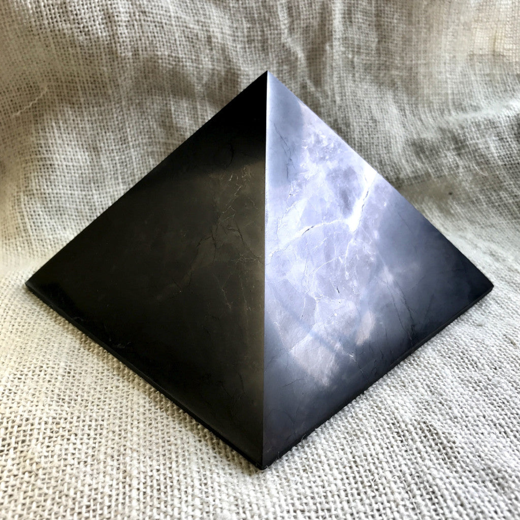Genuine Shungite Pyramid, Huge, 6 Inch Base (150mm), EMF Protection - Shungite Queen